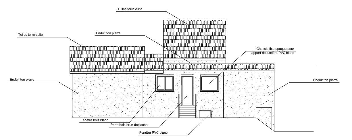 Plan de façades (Ouest) - Projet