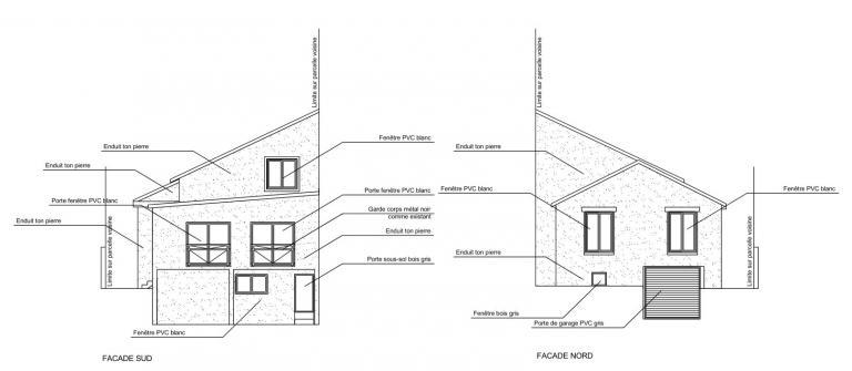 Plan de façades (Sud & Nord) - Projet
