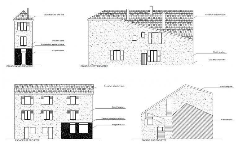 Plans de façades projetées