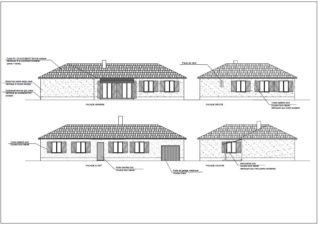 Plans façades projettées